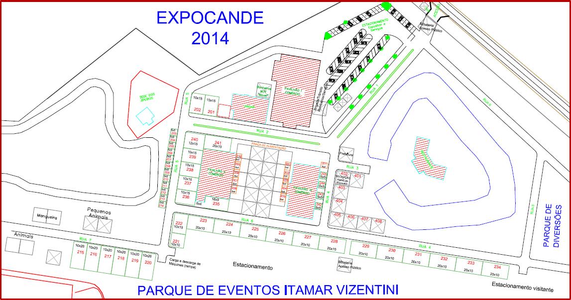Mapa do Parque Municipal de Eventos Itamar Vezentini